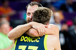 Sasa Zagorac of Slovenia and Luka Doncic of Slovenia celebrate after winning during basketball match between National Teams of Slovenia and Spain at Day 15 in Semifinal of the FIBA EuroBasket 2017 at Sinan Erdem Dome in Istanbul, Turkey on September 14, 2017. Photo by Vid Ponikvar / Sportida