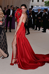 Deepika Padukone walking the red carpet at The Metropolitan Museum of Art Costume Institute Benefit celebrating the opening of Heavenly Bodies : Fashion and the Catholic Imagination held at The Metropolitan Museum of Art  in New York, NY, on May 7, 2018. (Photo by Anthony Behar/Sipa USA)