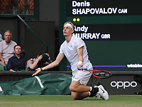 Tennis - 2021 All England Championships - Week One - Day Five (Friday) - Wimbledon<br /> Andy Murray v Denis Shapovalov<br /> <br /> Denis Shapovalov slips on the grass<br /> <br /> <br /> CreditCOLORSPORT/Andrew Cowie