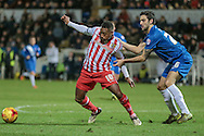 Aaron O'Connor (Stevenage) holds off Adam Jackson (on loan from Middlesbrough) (Hartlepool United) during the Sky Bet League 2 match between Hartlepool United and Stevenage at Victoria Park, Hartlepool, England on 9 February 2016. Photo by Mark P Doherty.