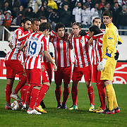 Atletico Madrid's Arda Turan (C) during their UEFA Europa League Round of 16, Second leg soccer match Besiktas between Atletico Madrid at Inonu stadium in Istanbul Turkey on Thursday March 15, 2012. Photo by TURKPIX