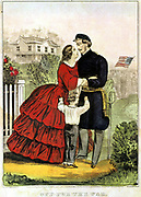Off For the War' Unionist (northern) soldier bidding farewell to his family before leaving for the American Civil War. After lithograph by Currier & Ives.