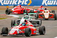 Abbie Munro(GBR) Arden Motorsport leads a pack of 5 cars out of the hairpin during the FIA Formula 4 British Championship at Knockhill Racing Circuit, Dunfermline, Scotland on 15 September 2019.