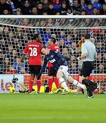 Man Utd Forward Wayne Rooney (ENG) celebrates  - Photo mandatory by-line: Joseph Meredith/JMP - Tel: Mobile: 07966 386802 - 24/11/2013 - SPORT - FOOTBALL - Cardiff City Stadium - Cardiff City v Manchester United - Barclays Premier League.