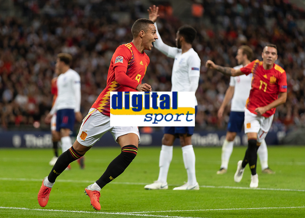 Football - 2018 / 2019 UEFA Nations League A - Group Four: England vs. Spain<br /> <br /> Rodrigo Moreno (Spain) turns away after scoring Spains second goal as England players look for an offside decision at Wembley Stadium.<br /> <br /> COLORSPORT/DANIEL BEARHAM