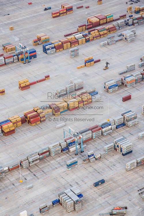 Aerial view of shipping containers piled up at the Wando Welch container port in Mt Pleasant, SC