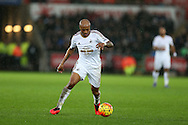 Andre Ayew of Swansea city in action. Barclays Premier league match, Swansea city v Crystal Palace at the Liberty Stadium in Swansea, South Wales on Saturday 6th February 2016.<br /> pic by Andrew Orchard, Andrew Orchard sports photography.