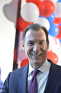 Garden City, New York, USA. November 6, 2018. Nassau County Democrats watch Election Day results at Garden City Hotel, Long Island.  Congressman TOM SUOZZI spoke with supporters after winning re-election as U.S. Representative for New York's 3rd district
