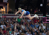Athletics - 2017 IAAF London World Athletics Championships - Day One<br /> <br /> Event: Womens Pole Vault  Qualifying<br /> <br /> Holly Bradshaw (GBR) clears the bar <br /> <br /> <br /> COLORSPORT/DANIEL BEARHAM