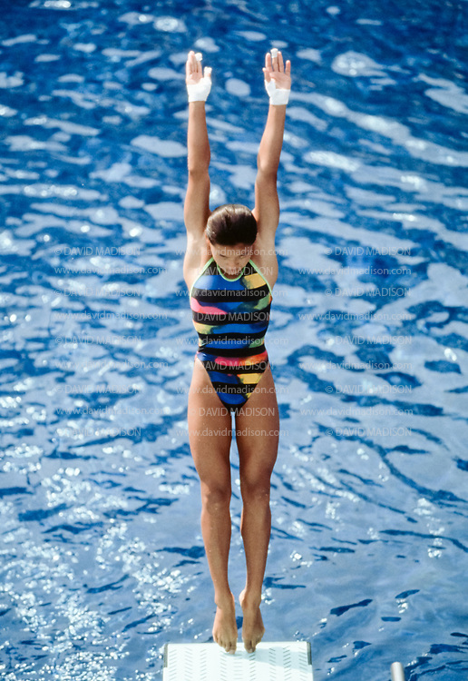 BARCELONA, SPAIN -  AUGUST 1:  Fu Mingxia of China competes in the Women's 10 Meter Diving event of the Aquatics Competition of the 1992 Summer Olympics held July 26 - August 4, 1992 at the Montjuic Municipal Pool in Barcelona, Spain.  (Photo by David Madison/Getty Images)
