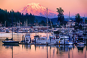 Evening at the harbor in Gig Harbor, WA.  Mount Rainier looming in the background.