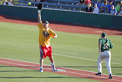 """29 July 2017: Mitch """"Wild Thing"""" Williams gets the put out throw ahead of batter/runner Marc Strauss  - Legends Baseball game sponsored by the Normal CornBelters at Corn Crib Stadium on the campus of Heartland Community College in Normal Illinois"""