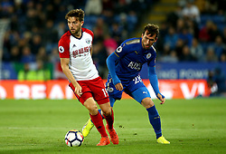 Jay Rodriguez of West Bromwich Albion takes on Christian Fuchs of Leicester City - Mandatory by-line: Robbie Stephenson/JMP - 16/10/2017 - FOOTBALL - King Power Stadium - Leicester, England - Leicester City v West Bromwich Albion - Premier League