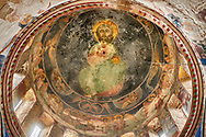 Pictures & images of the Byzantine cupola fresco  in the Gelati Georgian Orthodox Church of the Virgin, 1106, depicting Christ Pantocrator.  The medieval Gelati monastic complex near Kutaisi in the Imereti region of western Georgia (country). A UNESCO World Heritage Site. .<br /> <br /> Visit our MEDIEVAL PHOTO COLLECTIONS for more   photos  to download or buy as prints https://funkystock.photoshelter.com/gallery-collection/Medieval-Middle-Ages-Historic-Places-Arcaeological-Sites-Pictures-Images-of/C0000B5ZA54_WD0s<br /> <br /> Visit our REPUBLIC of GEORGIA HISTORIC PLACES PHOTO COLLECTIONS for more photos to browse, download or buy as wall art prints https://funkystock.photoshelter.com/gallery-collection/Pictures-Images-of-Georgia-Country-Historic-Landmark-Places-Museum-Antiquities/C0000c1oD9eVkh9c