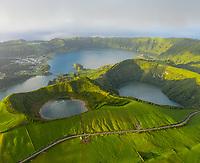 Aerial view of Lagoa Azul lake on San Miguel Island, Azores archipelagos, Portugal.