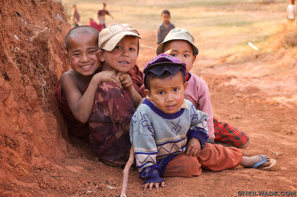 A group of Burmese children near Hspaw, Myanmar.