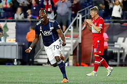 September 22, 2018 - Foxborough, MA, U.S. - FOXBOROUGH, MA - SEPTEMBER 22: New England Revolution forward Cristian Penilla (70) reacts to scoring during a match between the New England Revolution and the Chicago Fire on September 22, 2018, at Gillette Stadium in Foxborough, Massachusetts. The teams played to a 2-2 draw. (Photo by Fred Kfoury III/Icon Sportswire) (Credit Image: © Fred Kfoury Iii/Icon SMI via ZUMA Press)