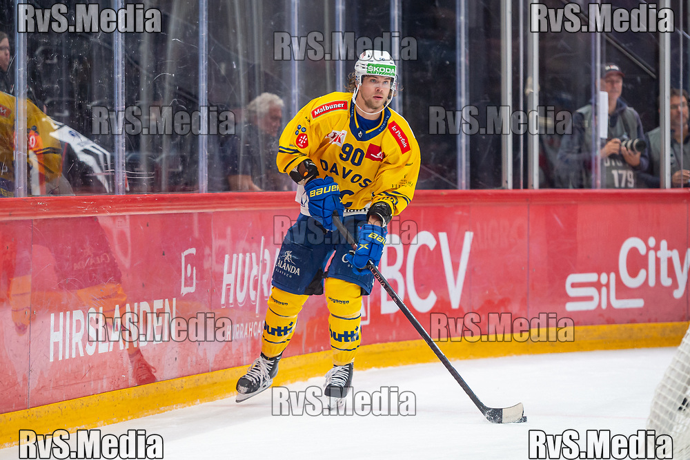 LAUSANNE, SWITZERLAND - SEPTEMBER 24: Sven Jung #90 of HC Davos in action during the Swiss National League game between Lausanne HC and HC Davos at Vaudoise Arena on September 24, 2021 in Lausanne, Switzerland. (Photo by Monika Majer/RvS.Media)