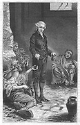 John Howard (1726-90) English prison reformer. From 1773 began campaign to improve awful conditions in English prisons. Published 'State if Prisons' in 1770. Illustration 1880. Investigated  conditions in prisons in Britain and Europe. Engraving published 1883 showing Howard with prisoners.
