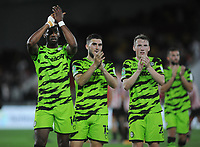 Football - 2021 / 2022 EFL Carabao Cup - Round Two - Brentford vs Forest Green Rovers - Brentford Community Stadium - Tuesday 24th August 2021<br /> <br /> Jamille Matt , Jordan Moore - Taylor and Regan Hendry of Forest Green  Rovers applaud their fans after the match <br /> <br /> Credit : COLORTSPORT/Andrew Cowie