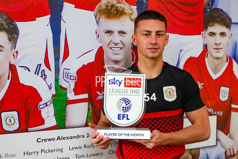 Crewe Alexandra midfielder Owen Dale (19) announced EFL League One Player of the Month for Crewe Alexandra at Alexandra Stadium, Crewe, England on 8 January 2021.