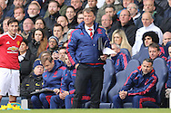 Louis van Gaal, the Manchester United Manager looks on from the dugout. Barclays Premier league match, Tottenham Hotspur v Manchester Utd at White Hart Lane in London on Sunday 10th April 2016.<br /> pic by John Patrick Fletcher, Andrew Orchard sports photography.