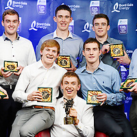 12 October 2013; The Clare winners at the Bord Gáis Energy All-Ireland GAA Hurling Under 21 Team of the Year Awards. Pictured are, from left, Seadna Morey, Ronan Taffe, Pádraic Collins, Alan O'Neill, David McInerney, Colm Galvin, Tony Kelly and Paul Flanagan. Croke Park, Dublin. Picture credit: Paul Mohan / SPORTSFILE *** NO REPRODUCTION FEE ***