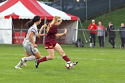 04 November 2016:  Madison Laudeman(19) during an NCAA Missouri Valley Conference (MVC) Championship series women's semi-final soccer game between the Loyola Ramblers and the Evansville Purple Aces on Adelaide Street Field in Normal IL