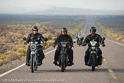 """Frankfurt, Germany Harley-Davidson dealer Thomas Trapp (L), riding his 1916 Harley-Davidson F rides beside Andreas """"Andy"""" Kaindl (middle) of Southern Germany on his 1924 Henderson Deluxe and Marcin Grela of Poland on his 1936 Harley-Davidson VLH during Stage 13 (257 miles) of the Motorcycle Cannonball Cross-Country Endurance Run, which on this day ran from Elko, NV to Meridian, Idaho, USA. Thursday, September 18, 2014.  Photography ©2014 Michael Lichter."""