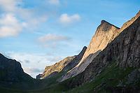 Dramatic mountain landscape at Horseid beach, Lofoten Islands, Norway