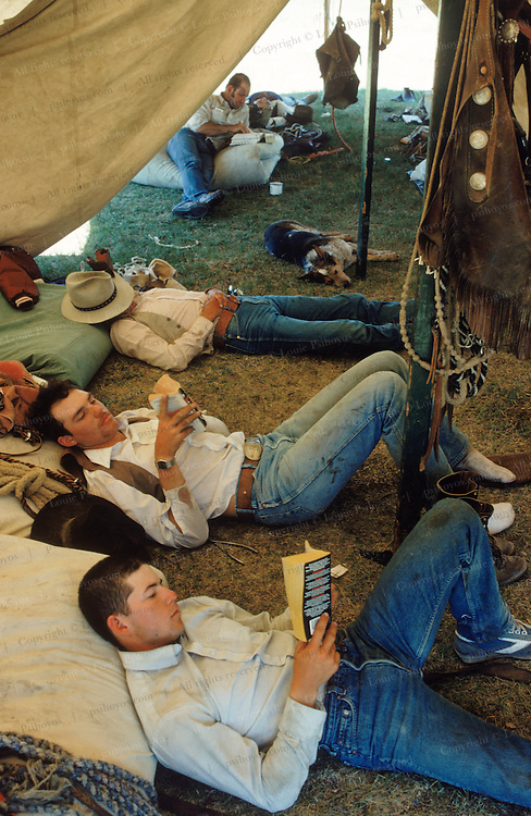 The Branding Crew at Padlock Ranch in south Montana takes a break.