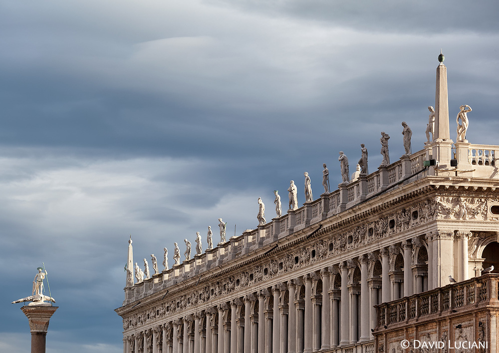 The Biblioteca Marciana, and its statues. The library is located between Piazza San Marco and Piazetta San Marco.