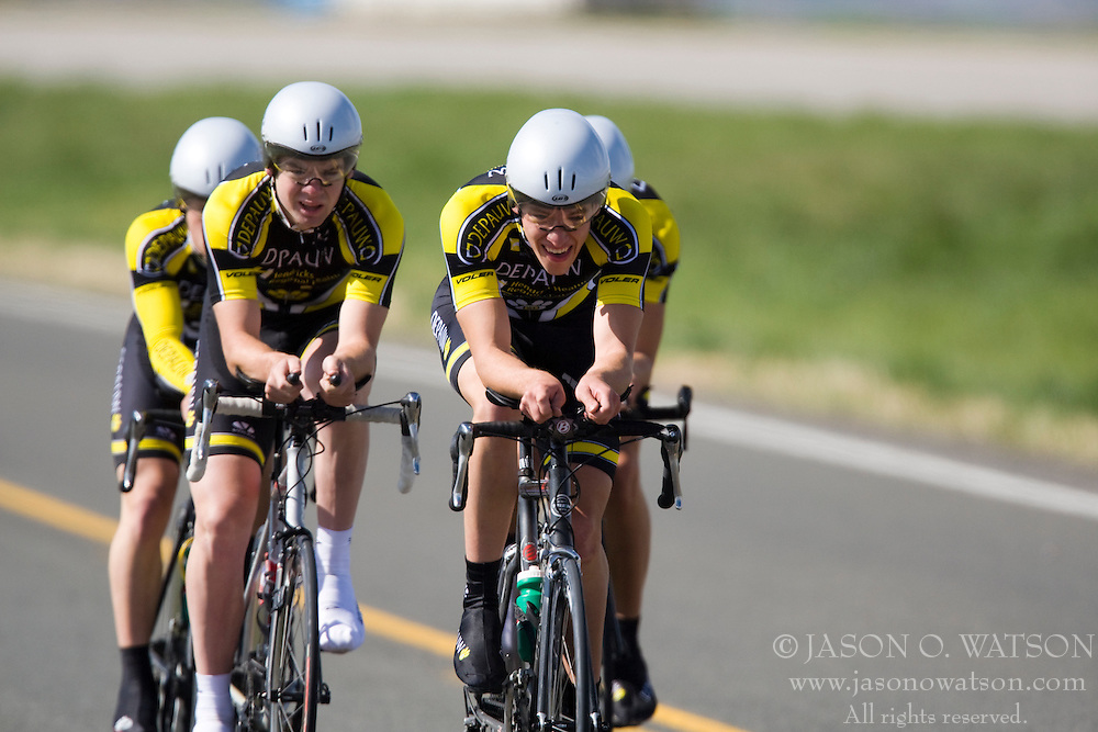 The DePauw University team of Luke Beasley, Neal Broshears, Ben McCormick, and John Stallings competes in the men's division 2 race.  The 2008 USA Cycling Collegiate National Championships Team Time Trial event was held near Wellington, CO on May 9, 2008.  Teams of 3 or 4 riders raced over a 20km out and back course that ran along a service road to Interstate 25.
