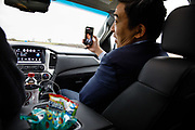 Democratic Presidential candidate Andrew Yang records an Instagram Live spot while driving to an event Saturday, April 27, 2019, in Boone, Iowa.<br /> Scott Morgan for Quartz