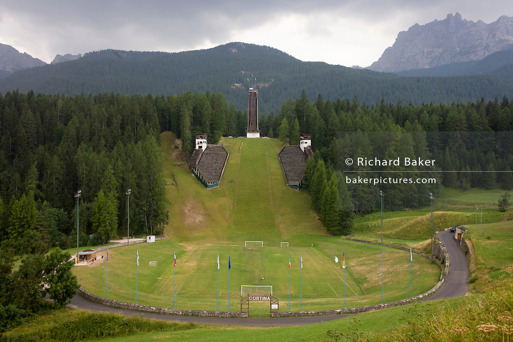Landscape showing the ski jump for the 1956 Olympics in the city of Cortina d'Ampezzo, Veneto, Italy.