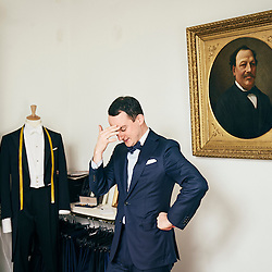 Paris, France. January 30, 2017. Julien Scavini posing in his tailor shop in Paris. He's wearing one of his suits. Photo: Antoine Doyen