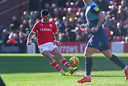 Alex Mowatt of Barnsley (27) passes the ball during the EFL Sky Bet League 1 match between Barnsley and Wycombe Wanderers at Oakwell, Barnsley, England on 16 February 2019.