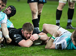 Ospreys' Scott Otten scores his sides third try<br /> <br /> Photographer Simon King/Replay Images<br /> <br /> Guinness PRO14 Round 19 - Ospreys v Connacht - Friday 6th April 2018 - Liberty Stadium - Swansea<br /> <br /> World Copyright © Replay Images . All rights reserved. info@replayimages.co.uk - http://replayimages.co.uk
