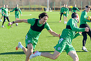 Joe Newell (#11) of Hibernian FC (left) is all smiles during the training session for Hibernian FC at the Hibs Training Centre, Ormiston, Scotland on 26 February 2021, ahead of the SPFL Premiership match against Motherwell.