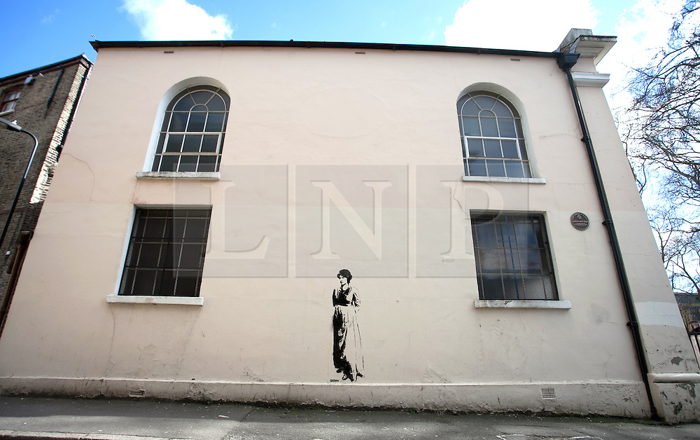 © Licensed to London News Pictures. 12/03/2013. Stoke Newington, London. Stencil by Street Artist: Stewy of  feminist Mary Wollstonecraft (1759-1797). Stencil appeared on Newington Green Unitarian Church wall 10.03.2013 . Photo credit : Gary Manhine/LNP