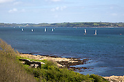 Sailing boats in River Fal estuary from Pendennis Point, Falmouth, Cornwall, England, UK