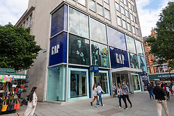 © Licensed to London News Pictures. 29/08/2021. London, UK. The GAP flagship clothes store on Oxford Street has closed. All of the 81 UK GAP physical stores will close by September 2021 and the company will continue to trade on-line. Photo credit: Ray Tang/LNP