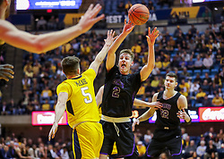 Mar 20, 2019; Morgantown, WV, USA; Grand Canyon Antelopes guard Trey Drechsel (2) passes during the first half against the West Virginia Mountaineers at WVU Coliseum. Mandatory Credit: Ben Queen