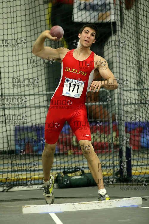 (Windsor, Ontario---11 March 2010) Jason Diston of University of Guelph Gryphons competes in the  competes in the pentathlon shot put at the 2010 Canadian Interuniversity Sport Track and Field Championships at the St. Denis Center. Photograph copyright Sean Burges/Mundo Sport Images. www.mundosportimages.com