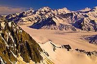 Aerial view above Triumvirate Glacier, Tordrillo Mountains, Alaska