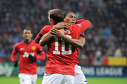 27.11.2013, BayArena, Leverkusen, GER, UEFA CL, Bayer Leverkusen vs Manchester United, Gruppe A, im Bild V r n l Torschuetze Antonio Valencia jubelt mit Wayne Rooney ( beide Manchester United / Emotion ) ueber das 1 : 0 // during UEFA Champions League group A match between Bayer Leverkusen vs Manchester United at the BayArena in Leverkusen, Germany on 2013/11/27. EXPA Pictures © 2013, PhotoCredit: EXPA/ Eibner-Pressefoto/ Thienel<br /> <br /> *****ATTENTION - OUT of GER*****