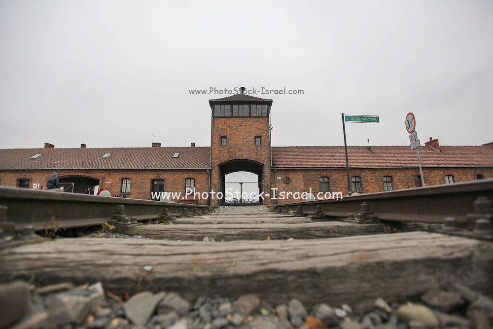 Nazi Auschwitz Extermination Camp, Poland. The railway tracks