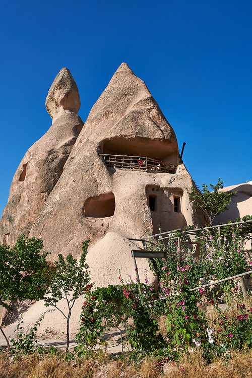 Cafeteria Balkonlu a typical fairy chimney cave house, Uchisar, near Goreme, Cappadocia, Nevsehir, Turkey .<br /> <br /> If you prefer to buy from our ALAMY PHOTO LIBRARY  Collection visit : https://www.alamy.com/portfolio/paul-williams-funkystock/cappadociaturkey.html (TIP refine search - type which part of Cappadocia into the LOWER search box)<br /> <br /> Visit our TURKEY PHOTO COLLECTIONS for more photos to download or buy as wall art prints https://funkystock.photoshelter.com/gallery-collection/3f-Pictures-of-Turkey-Turkey-Photos-Images-Fotos/C0000U.hJWkZxAbg