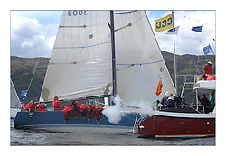 Sailing - The 2007 Bell Lawrie Scottish Series hosted by the Clyde Cruising Club, Tarbert, Loch Fyne..The final days racing had cold steady Northerly breeze to decide the overall placings..Sail Scotland and Class two winner Blondie IRL 3008  crosses the finish line..