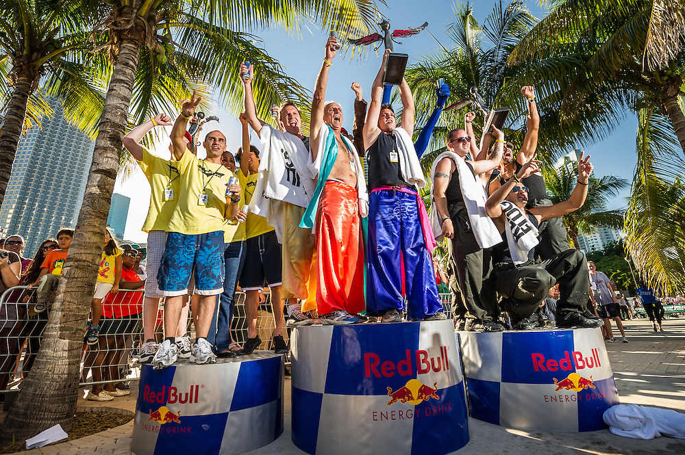 Winners The Magic Carpet Ride, The Oatmeal Effect, Go Battey  -  Pose for a portrait RedBull Flugtag in Miami, Florida on 11/03/2012